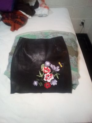 H M Brand Leather Mini Skirt / Black with Floral and Dragonfly Hand Embroidery / Size 4 for Sale in Portland, OR