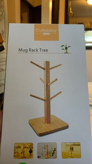cuteadoy Mug Rack Tree, Removable Bamboo Mug Stand, Storage Coffee Tea Cup Organizer Hanger Holder with 6 Hooks for Sale in Walnut, CA