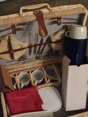 Picnic Basket with Porcelain Plates, Cups, Silverware for Sale in Rockville, MD