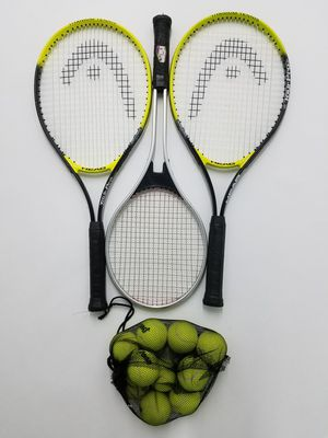 Lot of 3 tennis rackets plus bag of balls for Sale in Kent, WA