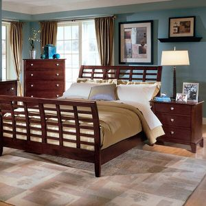 Bed and Dresser with Mirror - California King Sleigh for Sale in San Diego, CA