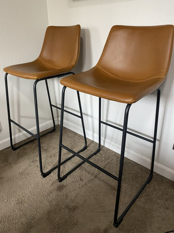 Whiskey brown faux leather bar stool chairs