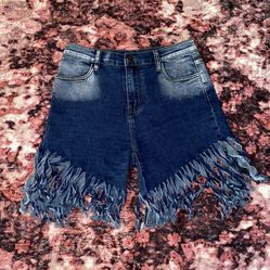Blue Denim Fringe Shorts for Sale in Washington,  DC