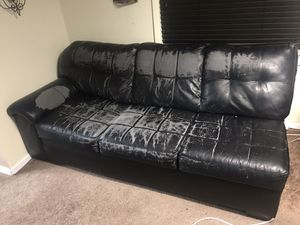 Black leather couch, L shaped for Sale in St. Petersburg, FL