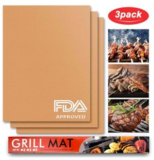 159. Non Stick BBQ Grill Mat - Set of 3 Barbecue Mat & Baking Mat-Reusable and Easy to Clean, for Gas, Charcoal, Electric Grill for Sale in San Diego, CA
