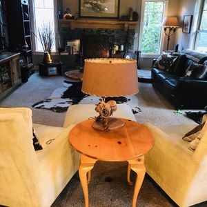 Country Farm Cabriole Round End Table - Solid Pine for Sale in West Linn, OR