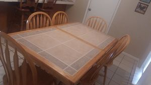 Breakfast/dining table with 6 chairs real wood, heavy for Sale in Spring, TX