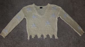Blank Paige yellow with white stars fringe crop sweater M/L for Sale in Birmingham, AL
