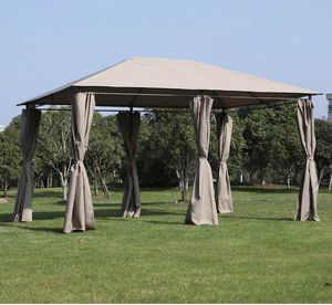 ☀️ BRAND NEW 13' x 10' Steel Outdoor Patio Gazebo Pavilion Canopy Tent with Curtains - Khaki for Sale in Los Angeles, CA