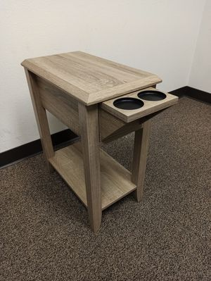 End Table with 2 Cupholder Space , Dark Taupe for Sale in Norwalk, CA