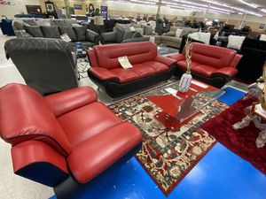 Brand new red leather sofa, loveseat and chair promotion end soon for Sale in Dallas, TX