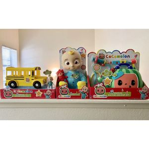 Cocomelon Musical Bundle JJ Plush Doll, Doctor Checkup Set, and School Bus Set for Sale in La Puente, CA