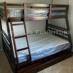 Twin_Full Expresso Bunkbed W MATTRESSES INCLUDED for Sale in Fontana, CA