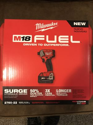 "MILWAUKEE M18 FUEL SURGE 1/4"" HEX HYDRAULIC DRIVER 5.0AH KIT for Sale in South Ogden, UT"