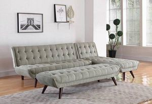 New w/Tags Gray Beige Mid Century Modern Sofa Bed Couch Futon Chaise for Sale in Vancouver, WA