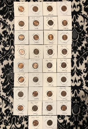Lot 34 coins; One Cent 1997D(4),1998(3),1998D(7),1999(2),1999D(18) for Sale in Los Angeles, CA