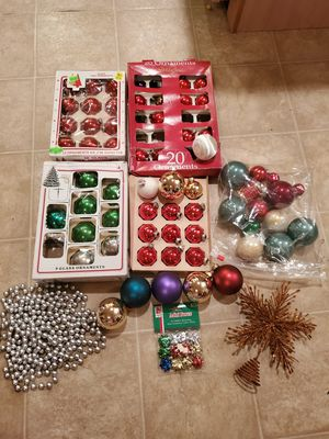 Lot 60+ Christmas decorations glass ball ornaments tree topper beads for Sale in Martinsburg, WV