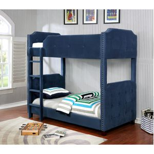 Twin Size Soft Velvet Upholstered Bunk Bed for Sale in Montebello, CA