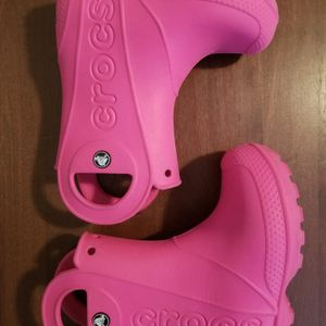 CROCS Girls Candy Pink Rubber Boots Toddler Size C 8 Waterproof Handle It Slip On Kids Rain Snow Shoes for Sale in Tampa, FL