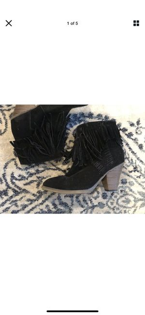 Fringe Booties Black Suede Women's size 8 Nature Breeze for Sale in Claremont, CA