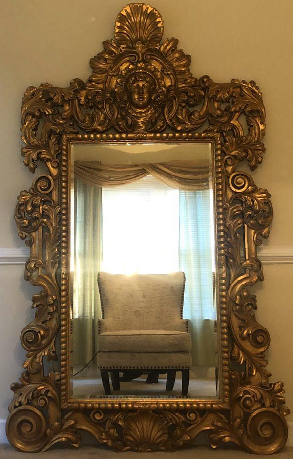 Golden Face Wall Mirror (Windsor Art) Real wood frame!
