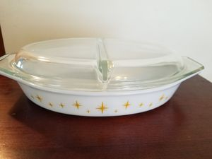 Vintage pyrex divided vegetable dish with glass cover for Sale in Cranston, RI