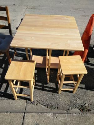 Folding Table 2 Wooden Stools for Sale in Baltimore, MD