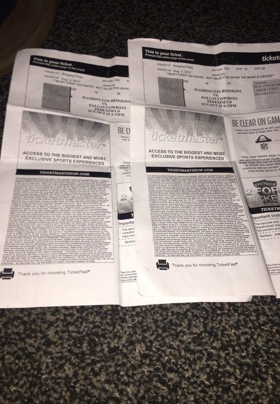 2 Washington redskin vs cowboys tickets