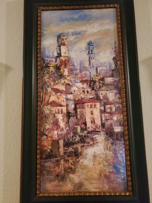 Italian picture with two sconces. Same sconce as posted for Sale in Rowlett, TX