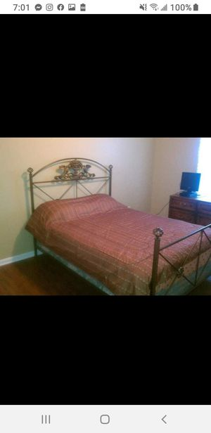 Queen wrought iron bed frame with mattress and box spring for Sale in Columbus, OH