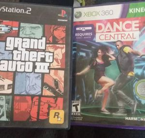 GTA 3 for PS2/Dance Central for Xbox360 for Sale in Victorville, CA