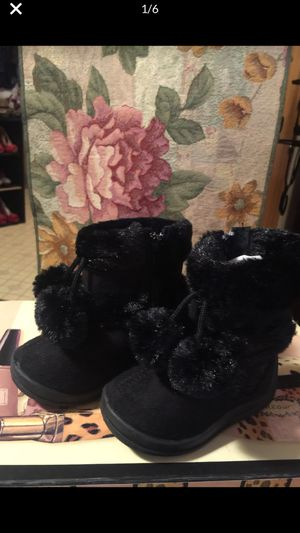 Little girls new black zip side winter boots sz 3 toddler for Sale in Northfield, OH