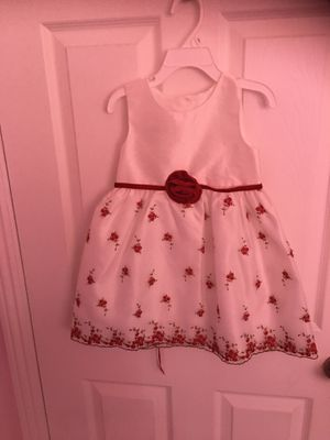 Toddler Girls White/Red rose Dress (Size 3T). for Sale in Stanton, CA