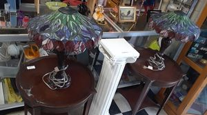 Two matching Tiffany lamps and two matching antique side tables for Sale in San Diego, CA
