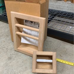 Free oak magazine cases And toilet paper Holder for Sale in North Bend,  WA