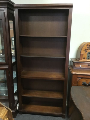 Mahogany Stained Solid Wood Bookcase - Delivery Available for Sale in Tacoma, WA