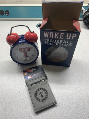 Texas rangers alarm clock and wallet for Sale in Dallas, TX