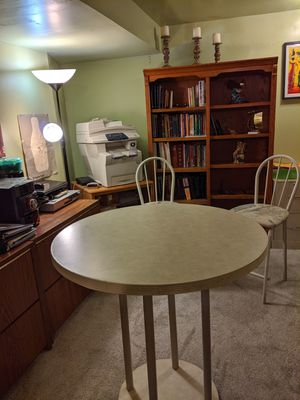 Round Table w/2 Chairs and bookcase for Sale in Haymarket, VA