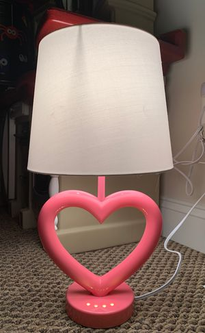 NEW pink heart lamp with built-in night light on the base for Sale in Alexandria, VA
