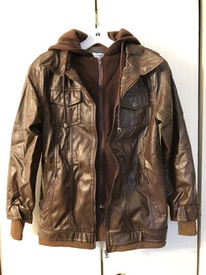 BRAND NEW Women's brown slim fit hooded faux-leather autumn jacket for Sale in Levittown, PA