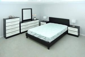 New queen bed frame mirror dresser chest and nightstands mattress is not included for Sale in Boynton Beach, FL
