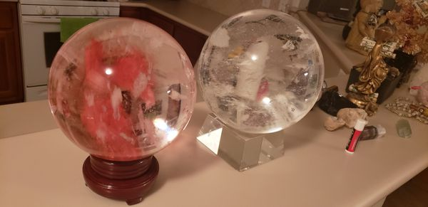 Huge and very heavy real crystal spheres