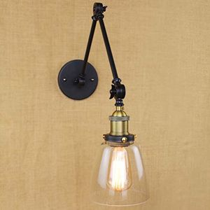 BAYCHEER HL409860 Industrial Vintage style Adjustable Mini swing arm Wall Sconce wall light lamp in Matte Black with Bowl Clear Glass for Sale in Columbus, OH