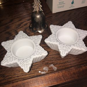 Snowflake Candle Holders Set Of 2 for Sale in Sterling Heights, MI