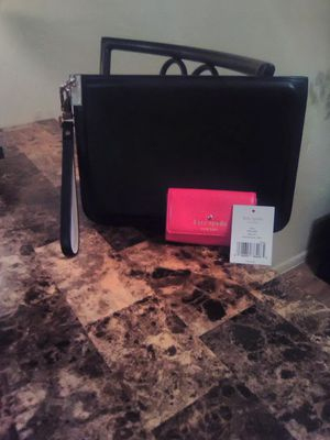 Luana Italy & Kate Spade Italian Leather Black Gray & Pink Large Wristlet Bag & Small Wallet NEW for Sale in Phoenix, AZ