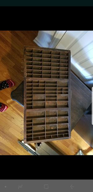 Antique vintner printer tray w/ hooks/nails for jewelry for Sale in Alexandria, VA