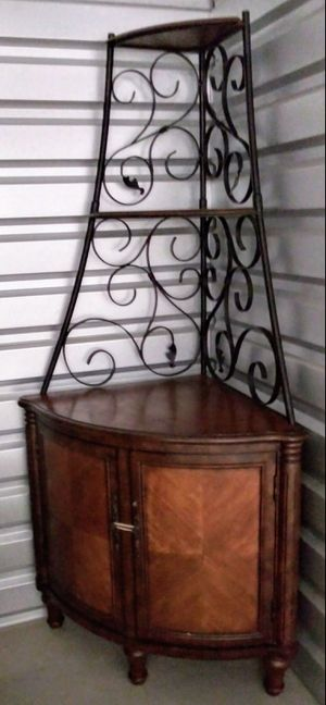 Corner Rack with Wrought Iron Frame and Wood Storage Shelves for Sale in Aurora, IL