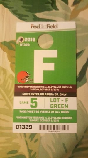 Skins vs. Browns parking pass Oct. 2nd for Sale in Fairfax, VA