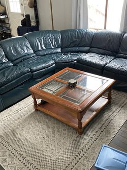 Genuine Leather Sectional Sofa And Table for Sale in Utica,  MI