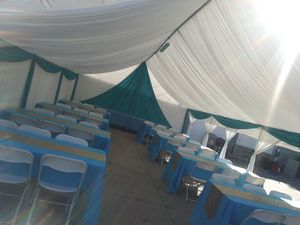 Draping carpa mesas sillas for Sale in Long Beach, CA